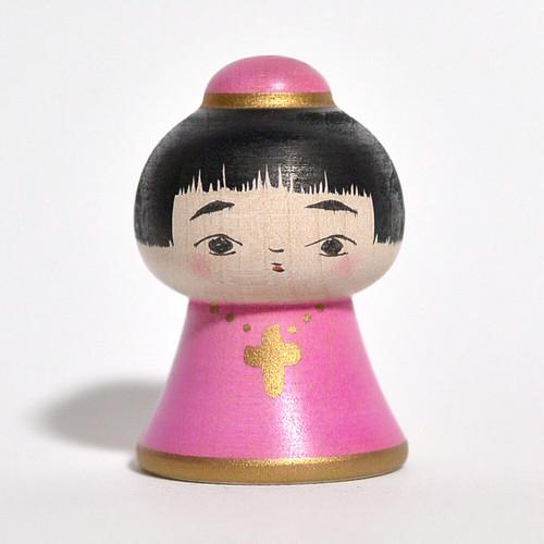 エクソシスコちゃん(ピンク) 約2寸 約5.7cm 長谷川優志 工人(津軽系)#0171