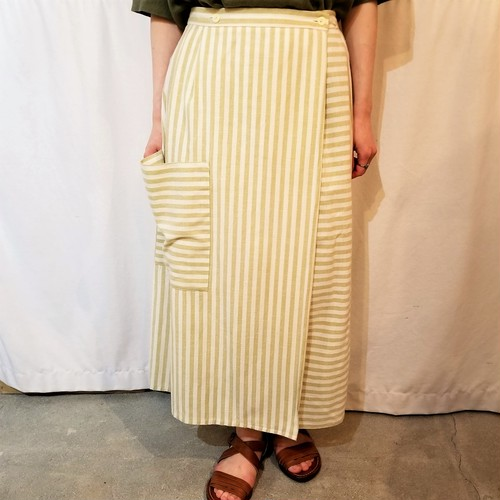 Stripe×Border wrap skirt /Made In DDR [G-632]