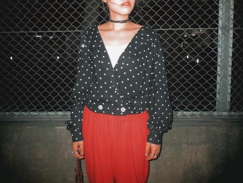 Vintage polka dots slouchy jacket