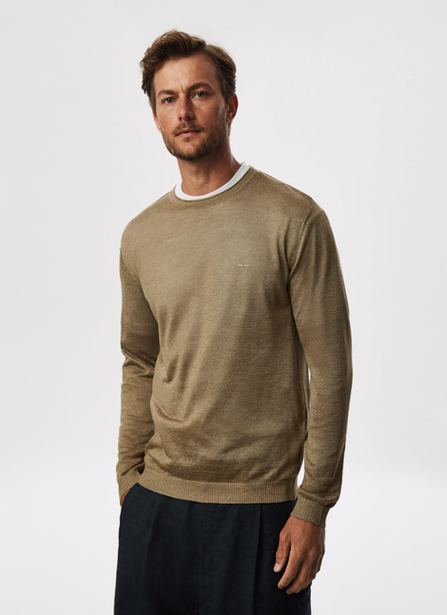 MELANGE LINEN SWEATER WITH CREW NECK