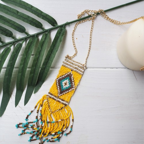 残り1点!【20%OFF】Ortega Fringe Necklace《YELLOW》