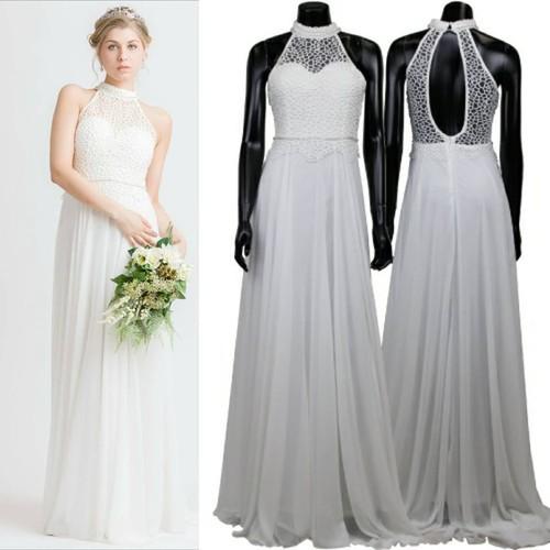 アメリカンスリーブ・ロングドレス・結婚式二次会ウェディングドレスS・M・L