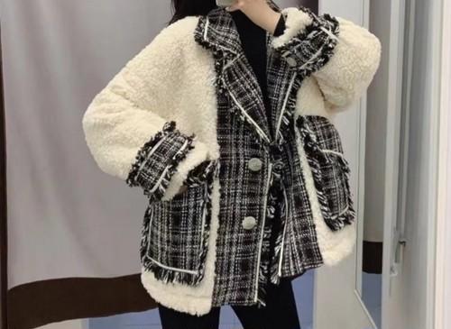 ココツイードフリースジャケット ジャケット 韓国ファッション