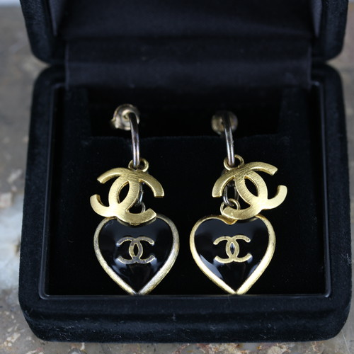 .CHANEL 02P COCO MARC HEART STONE EARRING MADE IN FRANCE/シャネルココマークハート型ストーンピアス 2000000041681