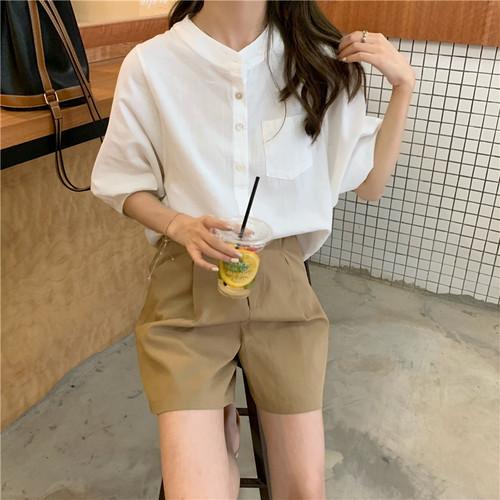 バンドカラーシャツ 半袖 無地 韓国 ファッション レディース オルチャン 春 夏 シンプル 大人カジュアル