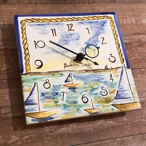 マヨリカ焼き タイル時計 15cm×15cm ヨット柄