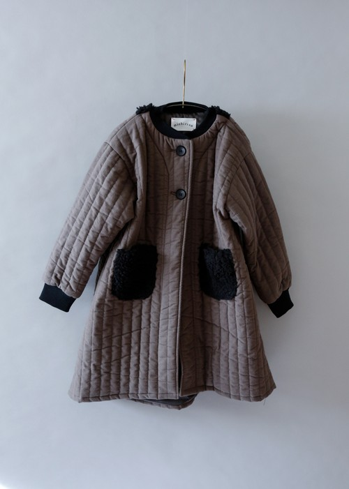 《michirico 2019AW》Quilting long coat / charcoal / L・XL