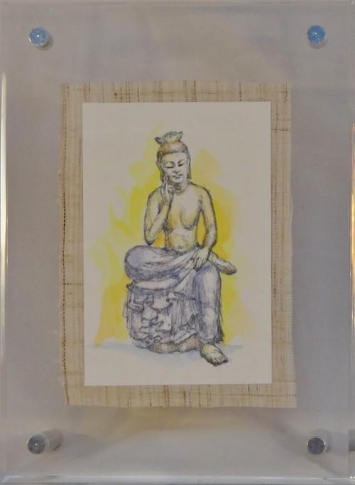 おまもり仏さま(額アクリル) 弥勒菩薩 背景 yellow