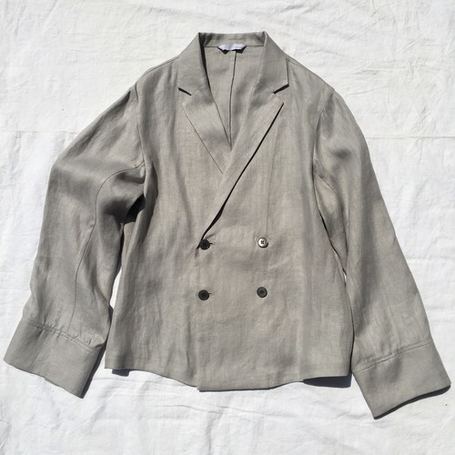 THEE シー / Linen Double Breasted Shirts Jacket / Gray