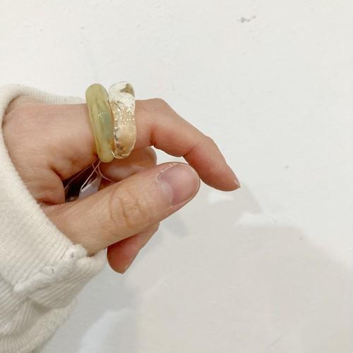 【ambleuki】樹脂ring(レモンミント)約13-14号