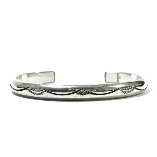 Navajo Vintage Sterling Silver Stamp Bangle by Rita Begay