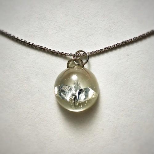 和風シルバーネックレス 銀の折り鶴 Japanese style silver plated necklace Silver crane bird