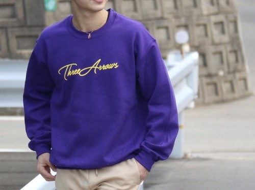 【1/15 21:00 再入荷】ThreeArrows スウェット(purple × yellow)