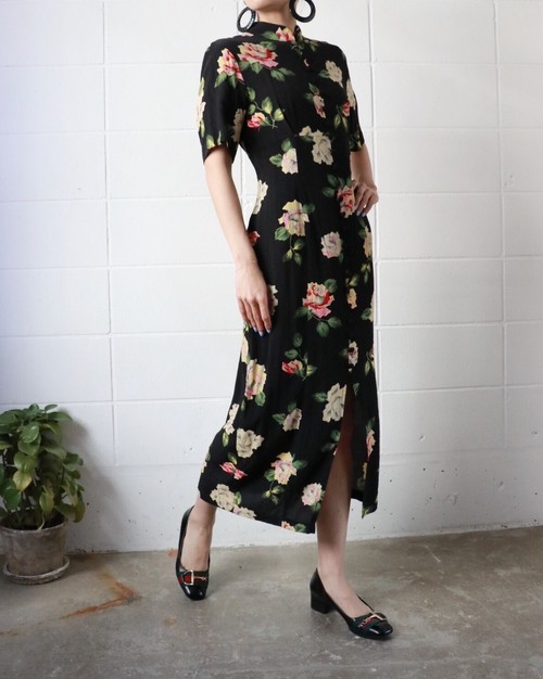 black mock neck floral dress
