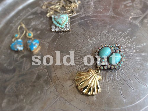 vintage pin brooch <RB-shell3>