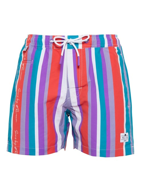 SUNS MULTI STRIPE SIGN LOGO SWIM SHORTS[RSW033]