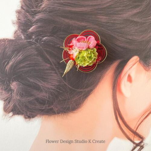 和風♡つまみ細工(ピンク)と水引(赤)のお花クリップ:B 1点  ベビークリップ 和風 着物髪飾り ヘアアクセサリー 七五三 浴衣