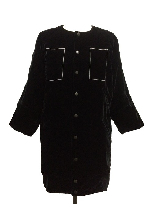 RECTANGLE VELVET EIGHT SLEEVE BLOUSON -BLACK-