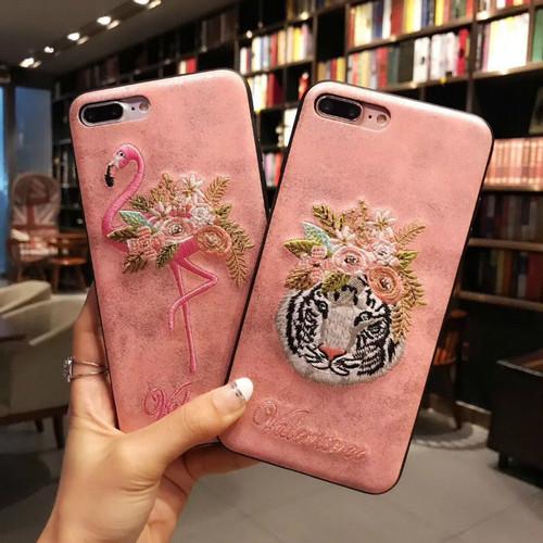 フラミンゴ トラ アップリケ iPhone7カバー オシャレ 芸能人愛用 iphone8 plus ジャケットケース  上質 アイフォン6s保護ケース 耐衝撃