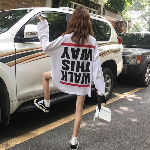 【トップス】ファッションルーズアルファベットラウンドネックTシャツ
