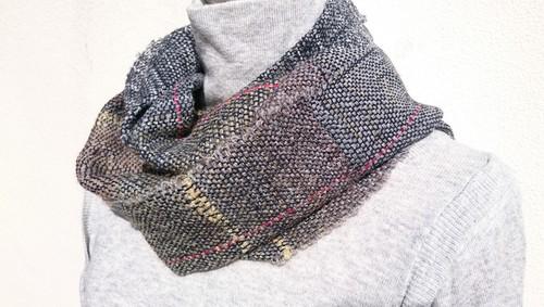 ☆男性へのクリスマスプレゼントにも☆ -Gray & Brown- 手織りグレーブラウン ウールスヌード マフラー