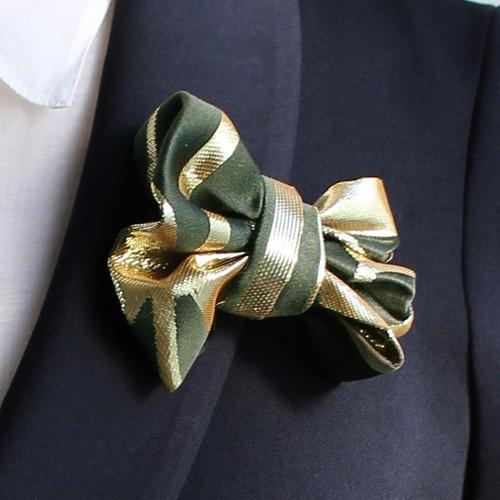 西陣織ブローチ(L)  深緑×ゴールド02