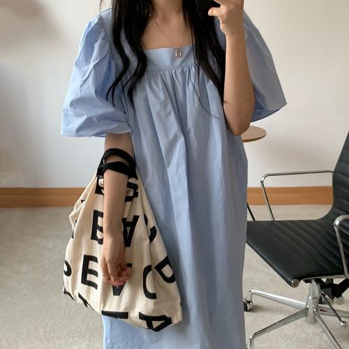 ワンピース ロング丈 半袖 韓国 ファッション レディース オルチャン 春 夏 秋 無地 シンプル ゆったり