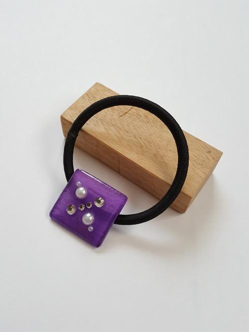 四角いヘアゴム 紫