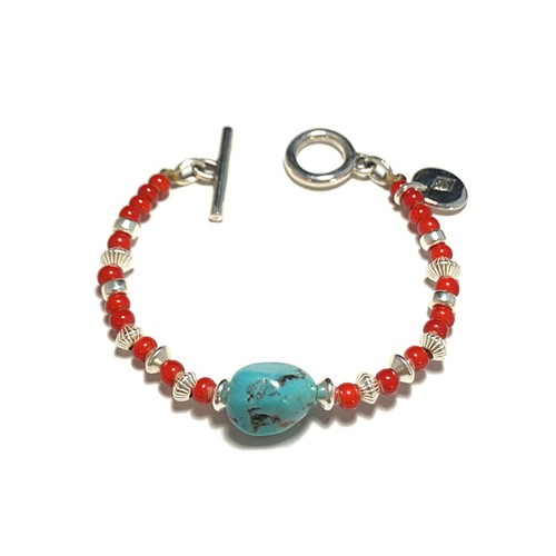 STEADY HIGH/ステディハイ Turquoise with beads bracelet/Red