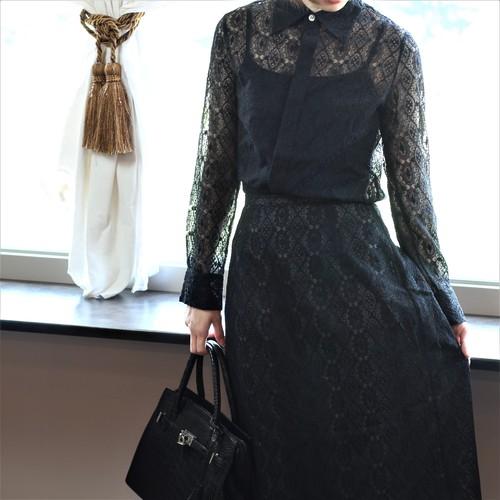 .Y's YOHJI YAMAMOTO EMBROIDERY JAQUARD SEE THROUGH SHIRT SET UP MADE IN JAPAN/ワイズヨウジヤマモト刺繍ジャガードシースルーシャツセットアップ 2000000035086