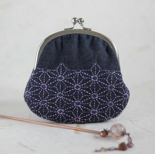 和装美人のかばんの中身・麻の葉模様の小物入れがま口