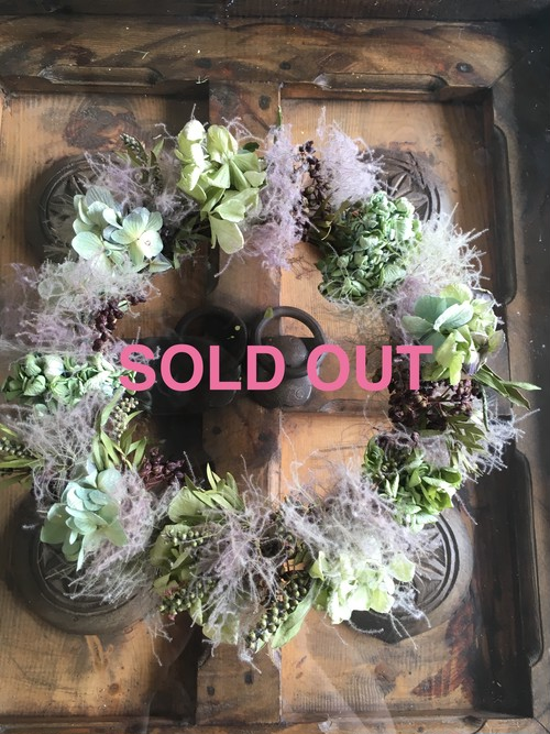 水無月 紫陽花とけむりの木のリース(大)売り切れ