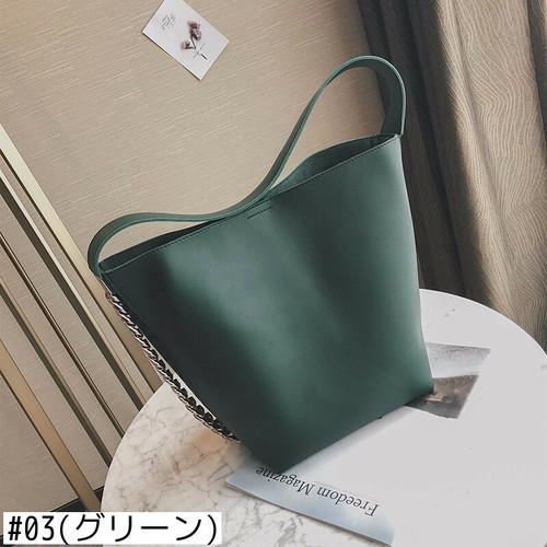 Shoulder Bag Large Capacity Chain Bucket Handbag Leather Tote Shopping Bag ショルダーバッグ トートバッグ レザー チェーン ハンドバッグ (HF99-6469375)
