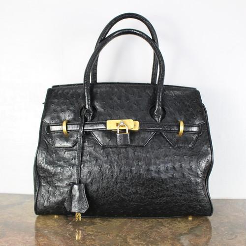 OSTRICH BELTED LEATHER HAND BAG/オーストリッチベルテッドレザーハンドバッグ