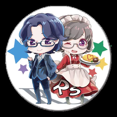 『ア~ルエス坂元の編集日誌』隆一くん・元子ちゃんアバター缶バッチ