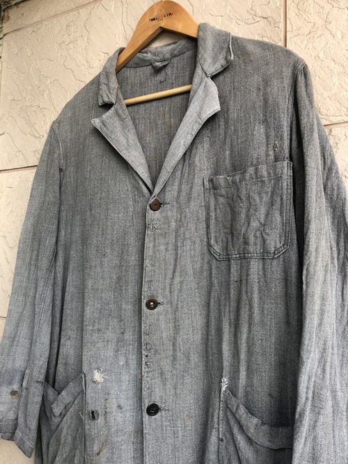 〜1950s French black chambray work coat