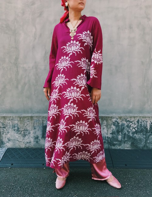 70s wine red floral long cotton dress ( ヴィンテージ  ワインレッド 花柄 ロング ワンピース )
