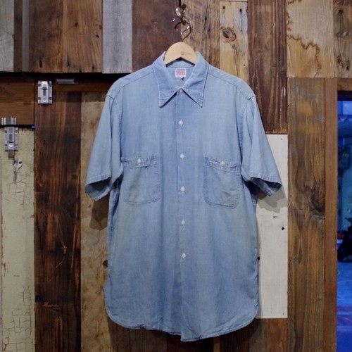 Nice Faded !! 1950s PENNEY'S OX HIDE Chambray Shirt / ヴィンテージ マチ付き シャンブレー シャツ