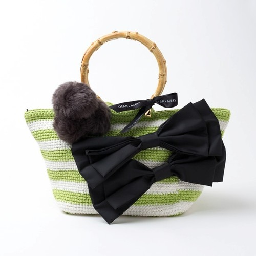 "Hand Knitted Crochet Bag ""BAMBOO TOTE"" Green x White  DBB0011"