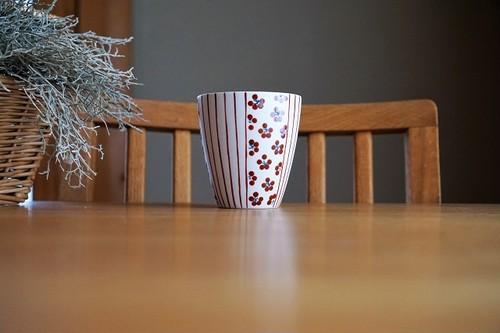 砥部焼/フリーカップ/赤小紋×赤十草/すこし屋
