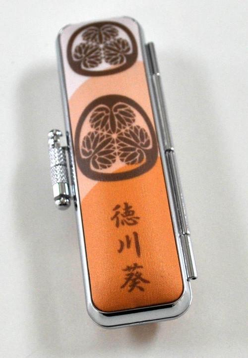 徳川葵7 茶 家紋ケース 12mm丸用~15mm丸用