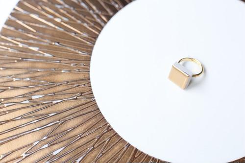 133 24金使用!伝統文化品美濃焼多治見四角タイル指輪・リング(フリーサイズ) ゴールドリーズ005
