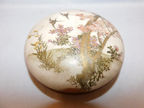 薩摩燕風景文香合 Satsuma pottery incencebox(No7)