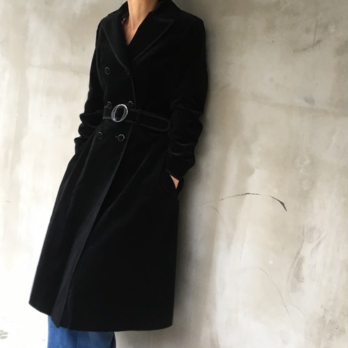 60's Made in UK A-line cotton Velor coat