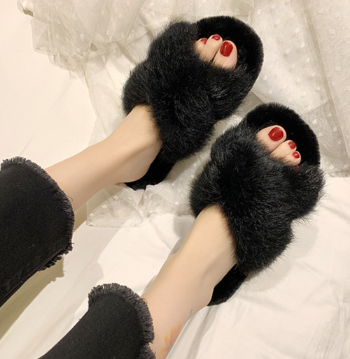 fluffy room shoes 4color