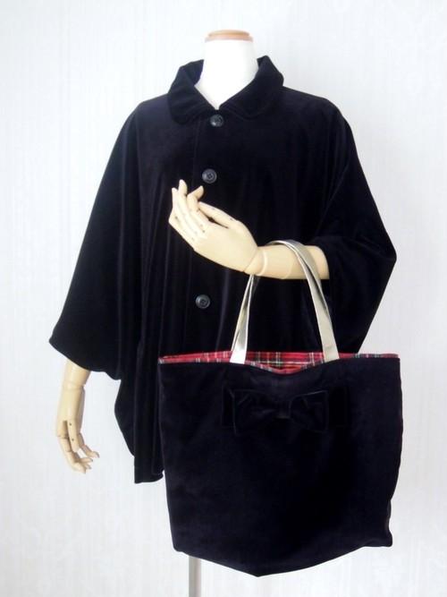 ♦クリスマススペシャルセット♦襟付きベロアケープ+リボン付きトートバッグ