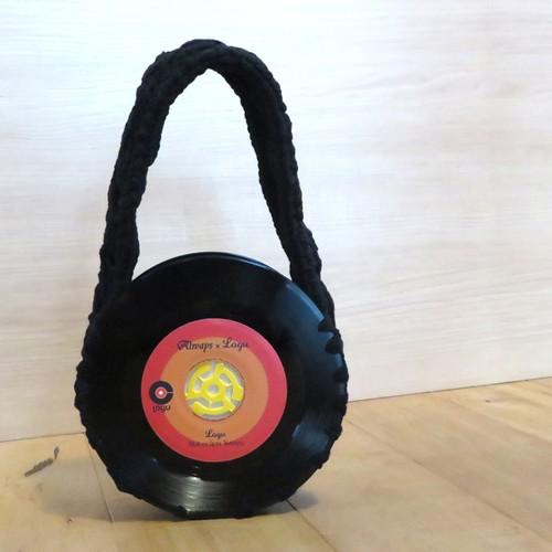 本物のレコードでできたバッグ 「bagu 」cotton strings black   | Logu-Records
