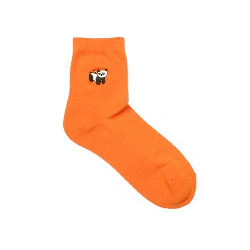 【made in Japan】materi くつした(ミズノマサミ)Panda toy(orange) ショートパイルソックス