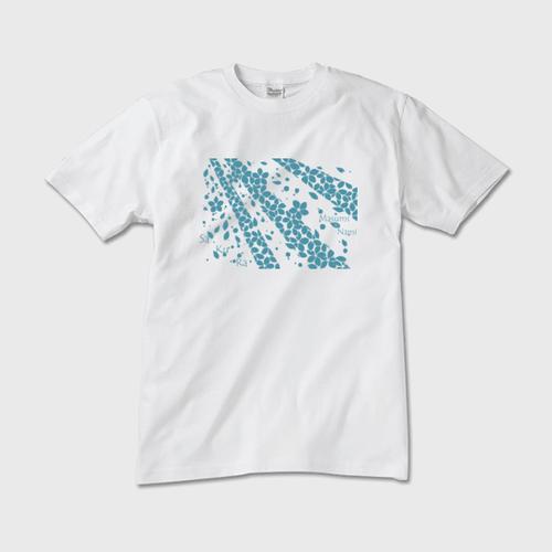 SaKuRa 白/ブルー メンズTシャツ