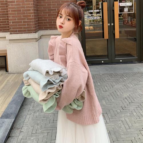 【セットアップ】韓国系不規則切り替えニットセーター+チュールAライン二点セット